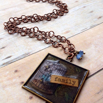 Family Birdcage Necklace