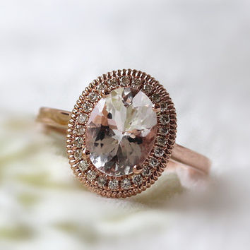 7x9mm Morganite Ring 14K Rose Gold 0.14ct SI/H Diamonds Ring/ Wedding Ring/ Engagement Ring/ Anniversary Ring Morganite Jewelry