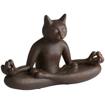 Antiqued Copper Yoga Cat