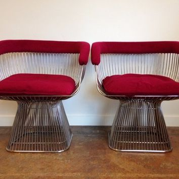 Pair Of Vintage Warren Platner Style Chairs