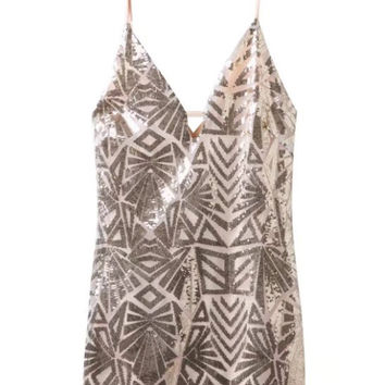 Nude Plunge Metallic Sequin Mesh Cami Bodycon Dress