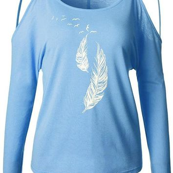 Blue Feather Print Cut Out Off-shoulder Round Neck Long Sleeve Casual T-Shirt