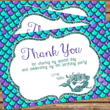 Mermaid Birthday Party - Mermaid Thank You Cards - Mermaid Birthday Thank You Card - Under The Sea Party - Glitter - Blue - Purple