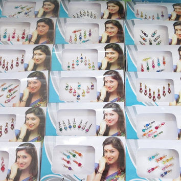 6 Packs Long Bindis Wholesale/face Gems Jewels/Fancy Bindis Lots/Bollywood Bindi Packs/Multi Color Bindis/Eye Forehead Belly Dance Jewelry