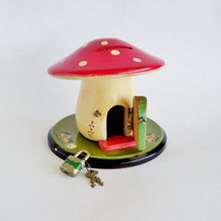 Belgian Wood Mushroom House Bank with Lock and Keys
