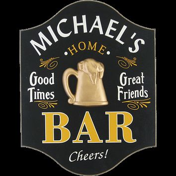 Personalized Bar Mc Wood Sign
