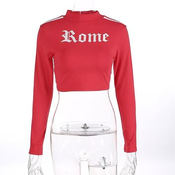 [14968] Long Sleeves Sports Cropped Slim Fit Top