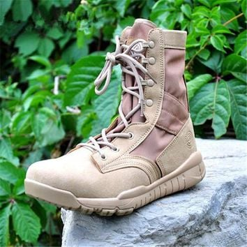 Spring/Autumn Ultralight Men Army Boots Military Leather Boots Men's Tactical Desert Combat Boots Militares Sapatos Masculino