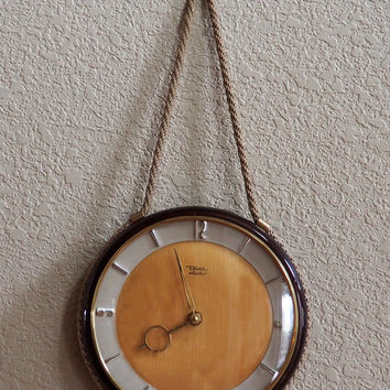 Vintage Diehl Electro Clock, Art Deco Wall Clock with Rope and Brass Hanger, Junghans Quartz Movement, Made in Germany