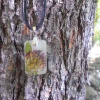 Real Purple Flower Necklace, Green Leaf Nature Botanical Jewelry