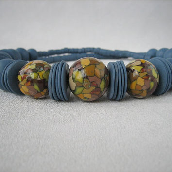 Dusty blue jewelry large beads imitation mosaic necklace bright women jewelry yellow mosaic dark blue bead polymer clay jewelry bead cutting