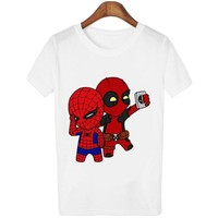 Harajuku Women T shirt Deadpool And Spiderman Print Funny T-shirts Casual O-neck Tees Fashion Summer Tops female tshirt pullover