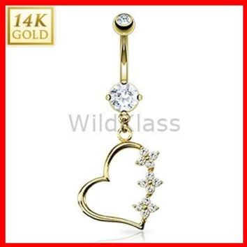14k Solid Gold Ring 14g Belly Button Ring Triple CZ Flower Dangle 14k Yellow Gold 14g Navel Ring Navel Jewelry Belly Button Jewelry