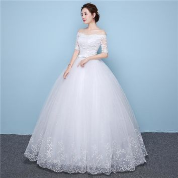 White Lace Boat Neck Half Sleeve Wedding Dress Gowns Embroidery 3D Flowers Sashes Off the shoulder