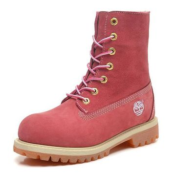 Timberland Rhubarb Boots 10061 High Tops Shoes Pink For Women Men Shoes Waterproof Martin Boots