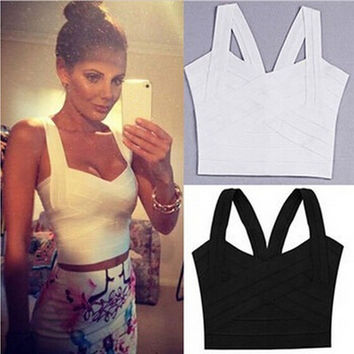 Women Ladies Sexy Crop Top Bandage Tank Tops Cami Tops Party Clubwear Tops