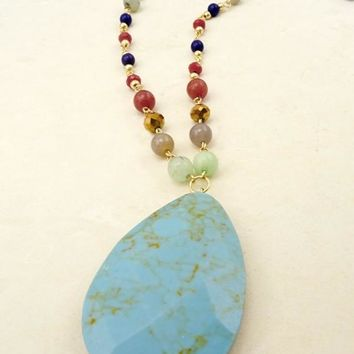 """Turquoise And Beads Necklace"""