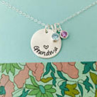 Grandma Birthstone Necklace, Sterling Silver Grandma Necklace, Gigi Necklace, Mimi Necklace, Personalized Grandma Necklace, Grandma Initial