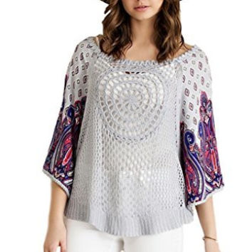 Women's Entro Crochet Cape Sweater Tunic with Paisley Print Sleeves