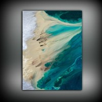 60*80cm Minimalist ABSTRACT Print of Painting Blue Coastal Beach Painting Art Prints Canvas Poster Print Living Room Wall Decor
