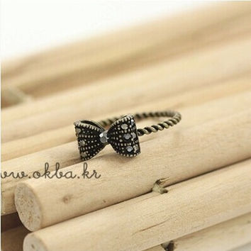 $10 (mix order) Free Shipping 2014 New Fashion European Retro Alloy Bow Tie Bowknot Butterfly Ring R041 2g