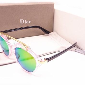 Dior Round Glasses Mirrored Flat Lenses Street Fashion Metal Frame Women Sunglasses [2974244664]
