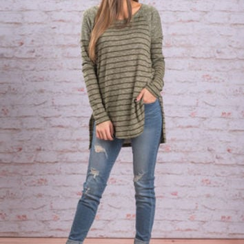 Striped To It Top, Olive