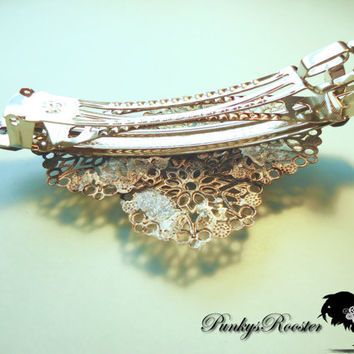 Vampire Killer Barrette Steampunk Hair Silver Colored Hair Clip Victorian Style Hair Jewelry Large Barrette Non Traditional Bride