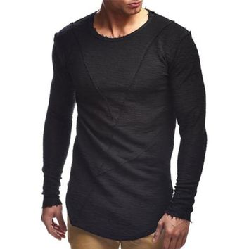 New Spring Men's Solid Color Plain Long T shirt Hip hop Streetwear Fitness T-shirt Casual Tee Tops Longline Tshirt Youth Boys