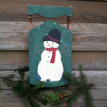 Wood Snowman Sled Door Hanger Rustic Hand Painted Folk Wall Art Snowman With Birds Vintage Christmas Winter Season Theme Holiday Home Decor
