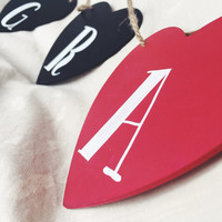 GRATEFUL WOOD BANNER - heart shaped painted thanksgiving