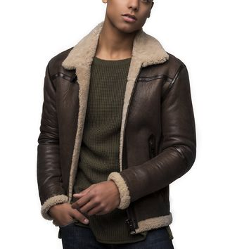 Shearling Lined Bomber Jacket - Brown