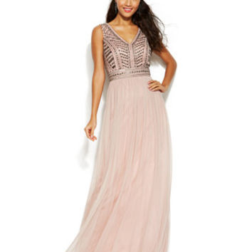 Joanna Chen Stud-Embellished Pleated Chiffon Gown