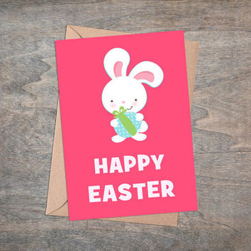"Happy Easter - Printable Greeting Card, Instant Download, 5x7"", Cute Easter Gift, White Rabbit, Pink Background, Easter Bunny, Kawaii"