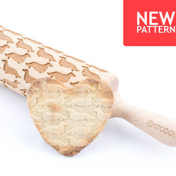 Long hair daschund - Embossed, engraved rolling pin for cookies