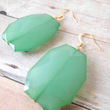 S E A F O A M - Seafoam Green, Acrylic Faceted Chunky Statement Bead, Gold Plated Dangle Earrings