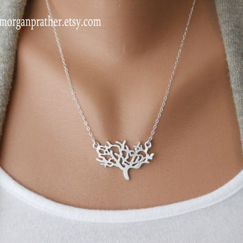 Dainty Tree Necklace in silver  delicate silver by morganprather