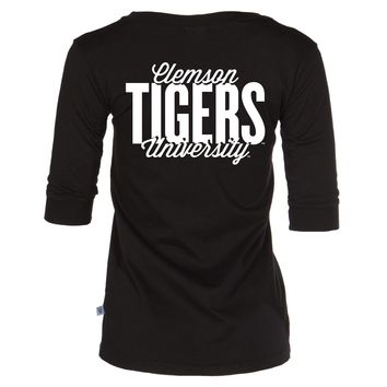 Official NCAA Venley Clemson University Tigers TIGER RAG Womens Boyfriend-Fit 3/4 Sleeve Stylish Football V-Neck Soft Premium Tee Shirt