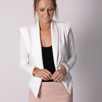 Esther Boutique - so this is love crop jacket- white