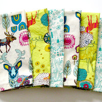Cloth Napkins - Set of 6 - Large Dinner Table Napkins - Mismatched, Assorted, Variety - Teal Yellow White Green Woodland Deer Trees