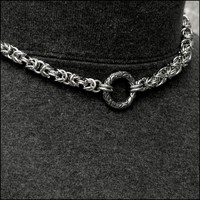 Discreet Chainmaille Link Day Collar with Beautifully Sculptured Ancient Design Connector Ring