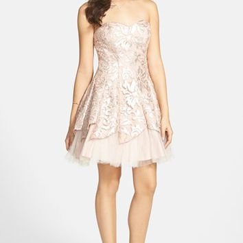 Junior Women's Steppin Out Foil Tulip Dress