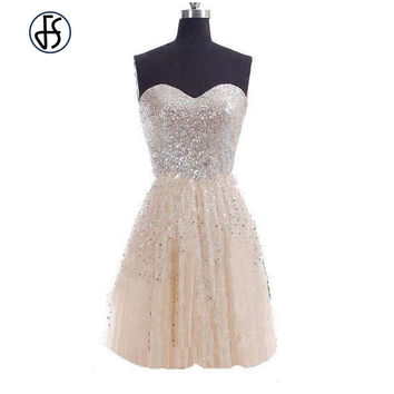 *online exclusive* strapless fit and flare princess a line sequin dress