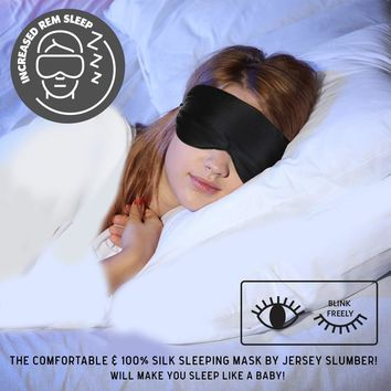 Silk Sleep Mask A Full Night's Sleep 100% Comfortable Jersey Slumber