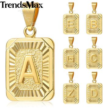 Trendsmax A-Z 26 Initial Letters Pendant Charm Women's Necklace Silver Gold Rose Gold Jewelry for Women Men GP36