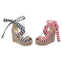 Candy Stripe Canvas Wedge Heeled Sandals 2 Colors