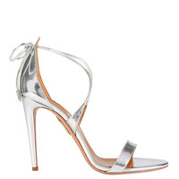 Aquazzura Linda Mirrored Silver Leather Sandals - INTERMIX®