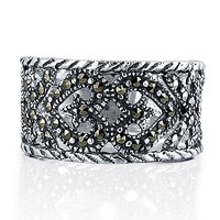 Sterling Silver Marcasite Ring in Heart Design #r213