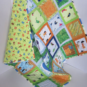 Rainforest Animals Baby Quilt; Colourful Monkey Lion Hippo Alligator Birds, Unisex Baby Quilt, Nursery Quilt, Crib Quilt, Baby Shower Gift
