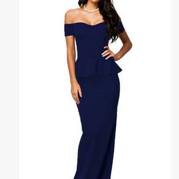 New Women Runway Dress Plus Size Sleeveless Wrapped Chest Strapless Lotus Leaf Bandage Cocktail Party Evening Dress Ladies Peplum Maxi
